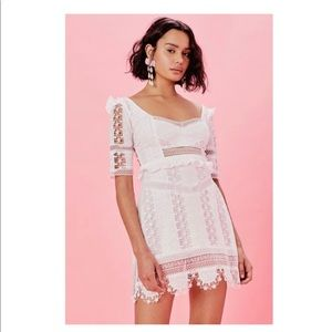 For Love and Lemons white lace mini dress. NWT XS